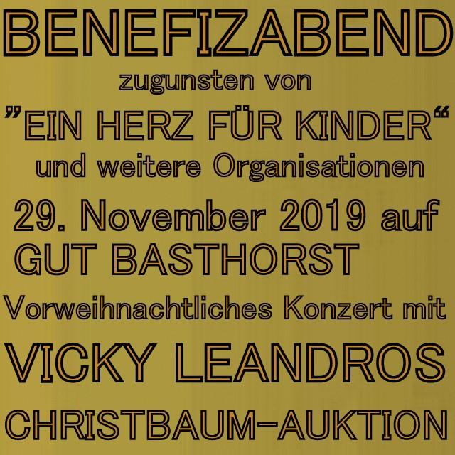 """BENEFIZABEND für """"EIN HERZ FÜR KINDER"""" auf Gut Basthorst bei Baron Enno Freiherr von Ruffin & Vorweihnachtliches Konzert mit Weltstar Vicky Leandros"""